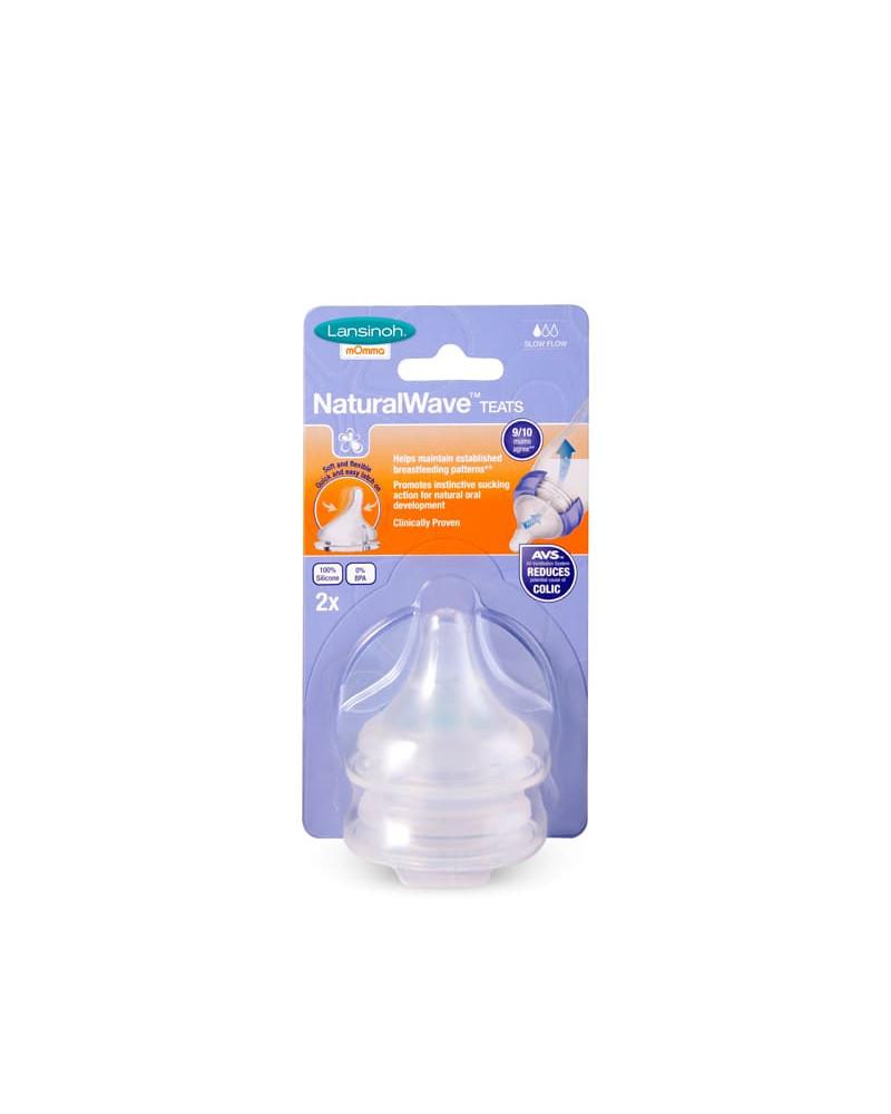 Tétine natural wave biberon lait maternel débit lent 2 pièces