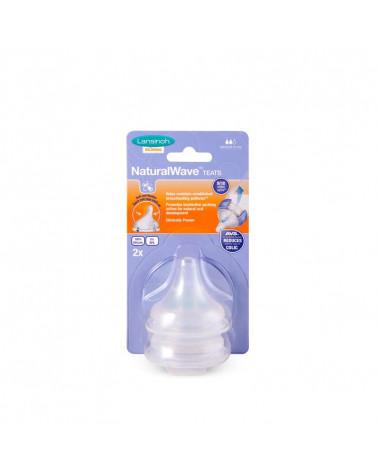 Tétine natural wave biberon lait maternel débit moyen 2 pièces