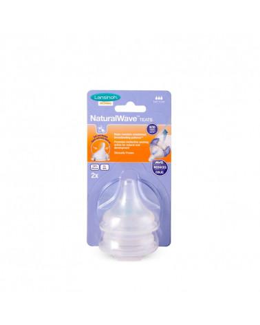 Tétine natural wave biberon lait maternel débit rapide 2 pièces